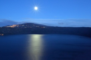 The moon over Lake Albano
