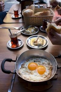 Bread, kaymak & eggs