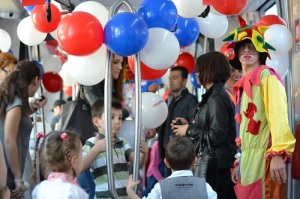 Tram decorated for Children's Day