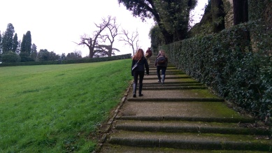 Climbing to the top of the Boboli Gardens