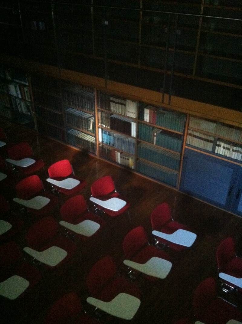 4. Even a large lecture hall lined with shelves full of textbooks on acting and old plays.
