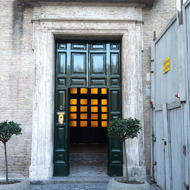 A. The first door