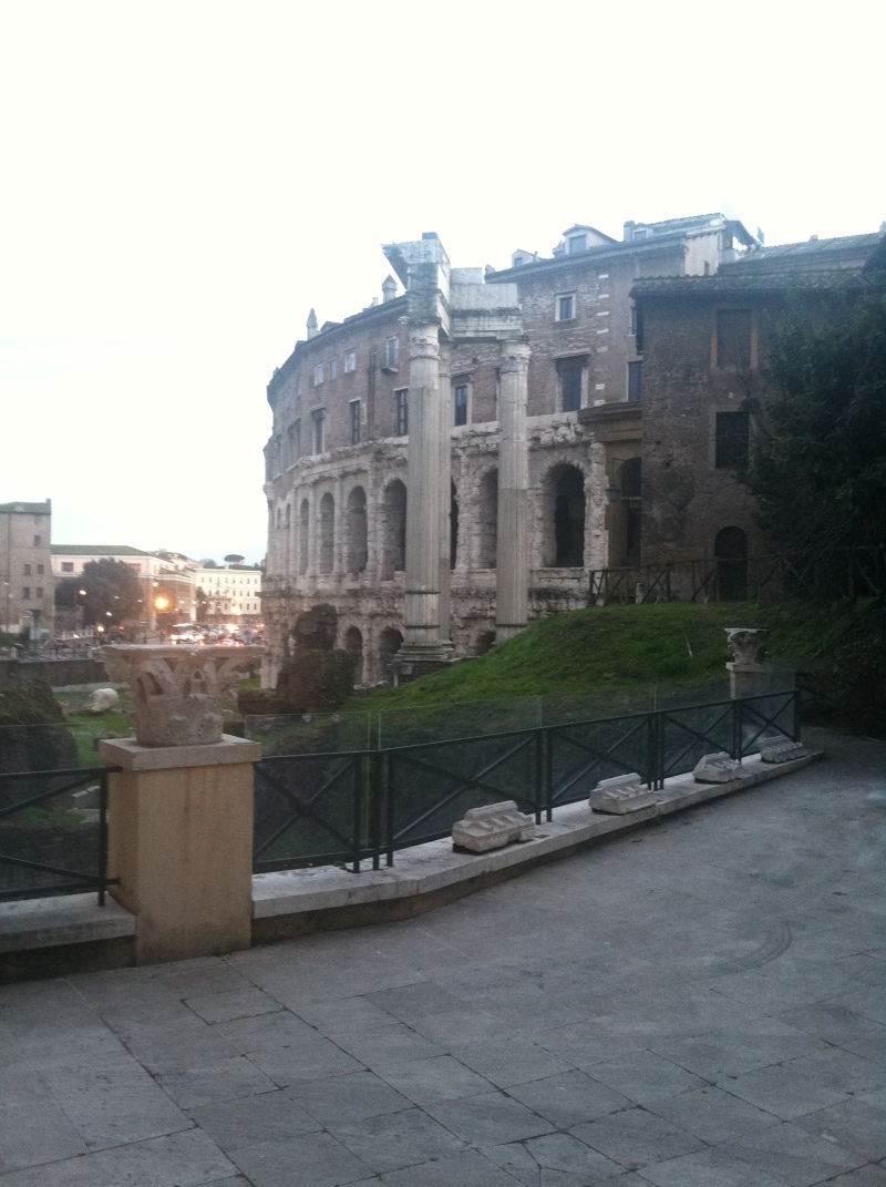 11. a space that I would describe as a spolia garden, overlooking the ruins of the Theater of Marcellus.