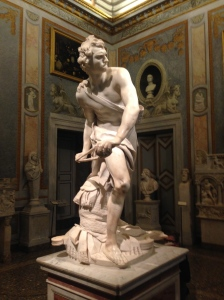 At the Borghese Gallery, Bernini's take on David (famously done by the great Michaelangelo)