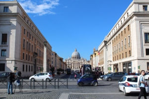 View of St. Peter's Basilica approaching main entrance of the Vatican.