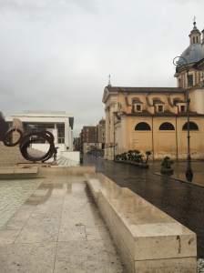 Contrast between Meier's Ara Pacis Museum vs San Rocco church