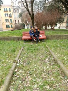 We found a lovely serene bench in the quiet residential area!