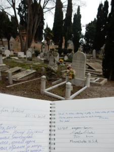 We left our mark in the guest book at the Island of the Dead cemetary