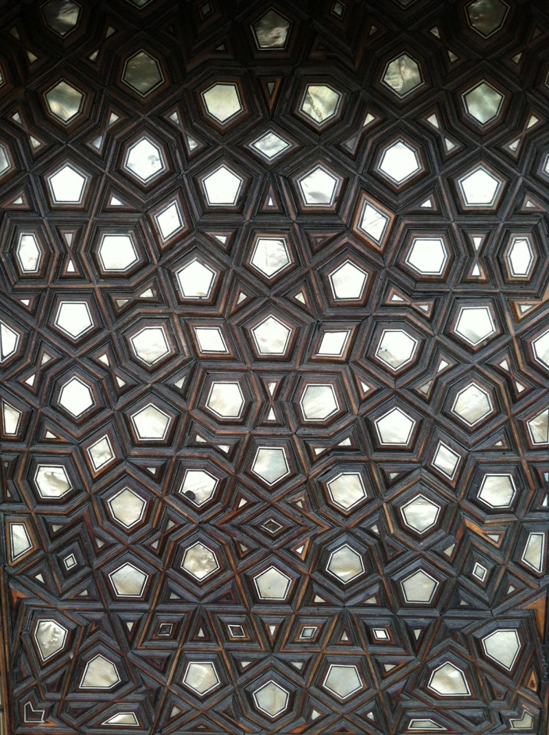 The door of mosque. Sacred geometry with mother of pearl inlay.