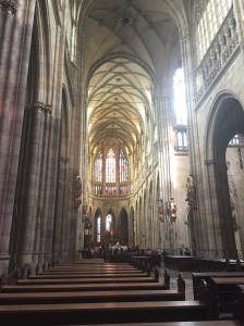 Interior shot of one of the gothic churches showing the emphasis on verticality