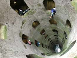 Dropping drawings down the well in Orvieto