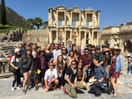 Us (+ those pesky grad students again) at the lIbrary of Celsus in Ephesus